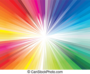 Explosion of rainbow ray lights - Abstract Colorful Rainbow...