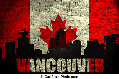 View of  Vancouver on the Grunge Canadian Flag
