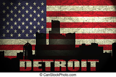 View of Detroit City on the Grunge American Flag