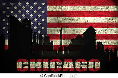 View of Chicago City on the Grunge American Flag