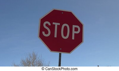 Stop sign with right to left trucking