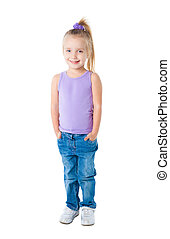 smiling little girl in purple t-shirt isolated