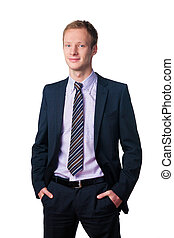 smiling handsome businessman in suit over white