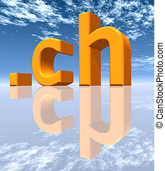 CH Top Level Domain of Switzerland - Computer generated 3D...