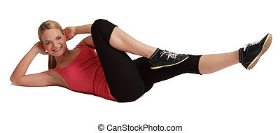 Woman Doing Sit-ups - Woman doing sit-ups, isolated against...