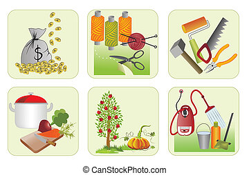 six icons for home economics - six icons for domestic,...
