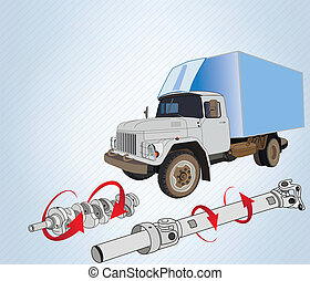 truck with spare parts - truck with drive shaft and...