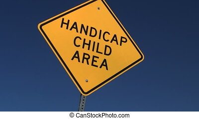Handicap Child Sign with right to left trucking