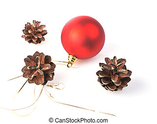 pinecones - three pinecones with red ball isolated on white...