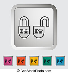 Locking doors. Single icon. Vector illustration.