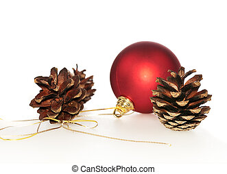 pinecones with red ball isolated on white background