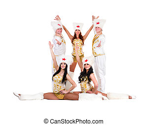 dancer team wearing a folk cossack costumes - Dancer team...