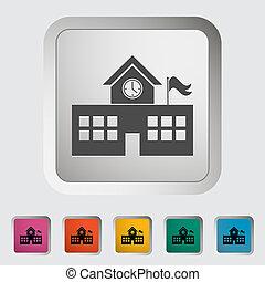 School building. Single icon. Vector illustration.