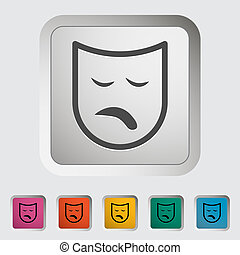 Theatrical mask. Single icon. Vector illustration.