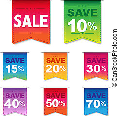 Discount Labels, Isolated On White Background, Vector...