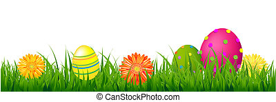 Happy Easter Border With Grass And Eggs