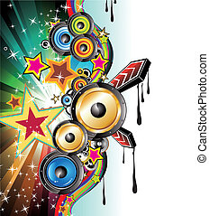 Music Background for Discoteque Flyers - Abstract Colorful...
