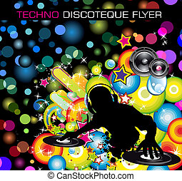 Techno Discoteque Flyer - Rainbow Techno Discoteque Flyer...