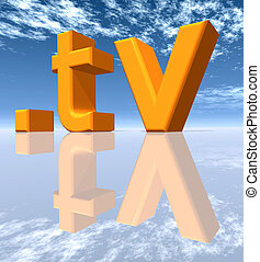 TV Top Level Domain of Tuvalu - Computer generated 3D...
