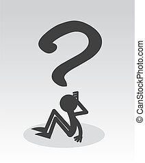 Question FIgure  - Question mark figure sitting thinking