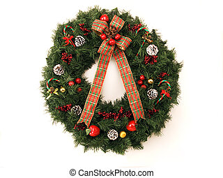 Christmas wreath - christimas wreath with pine cones, holly...