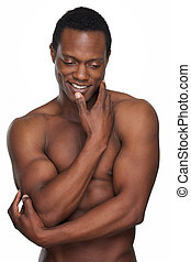 Muscular African American Man Smiling - Portrait of a...
