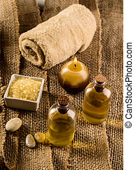 Spa products - Composition with towel, bath oil, bath salt,...