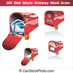 Classic Post Icon - Old Style Red Classic Post Icon
