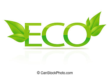 illustration of eco sign - closeup picture or illustration...