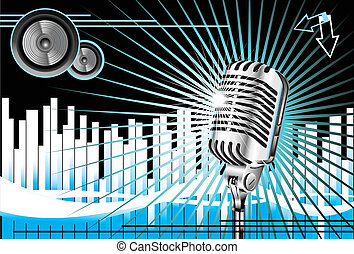 Old Microphone Music Background - Abstract Music Background...