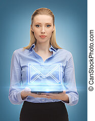woman with tablet pc sending e-mail - picture of beautiful...
