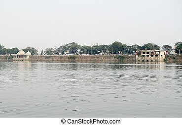 Hussain Sagar Lake, Hyderabad - View from the centre of the...