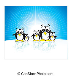 Penguins family - Funny family of penguins and south pole