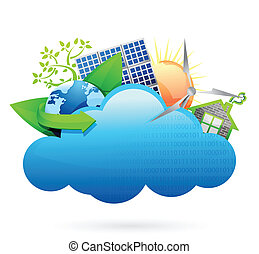 Eco green Cloud computing concept illustration design over...