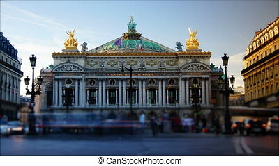 rush hour in paris,view to the Opera Garnier