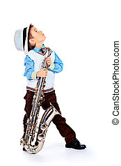 young musician - Portrait of a cute little boy jazzman...