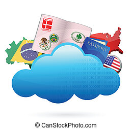 traveling Cloud computing concept illustration design over...