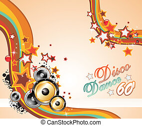 Music Background for Disco Flyers - Colorful Rainbow...