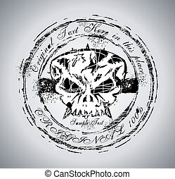 Grunge style Skull Stamp - Rubber Stamp of a Grunge style...