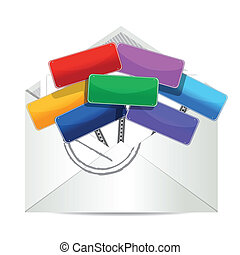 envelope with color signs