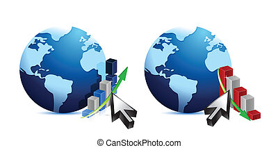 Globe and business graphs