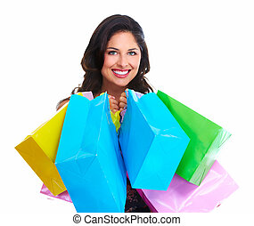 Beautiful woman with a shopping bag Isolated on white