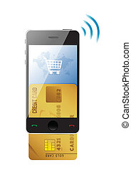 Shopping concept Credit Card and modern mobile phone on a...