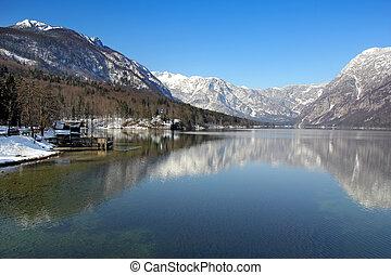 Bohinj Lake  - Bohinj lake in the morning winter sun