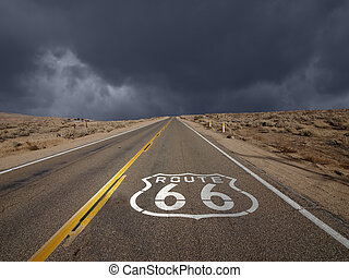 Route 66 Mojave Desert Storm Sky - Historic Route 66 storm...