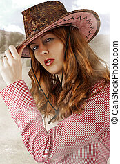 sexy Woman wearing cowboy hat - Young sexy Woman wearing...