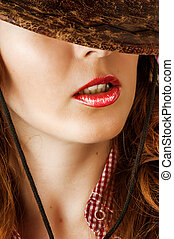 fashion make up - sexy red lips - Woman with fashion make up...