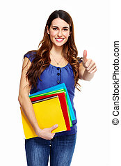 Young woman student with a book Isolated on white background...