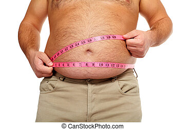 grasa, hombre, grande, vientre