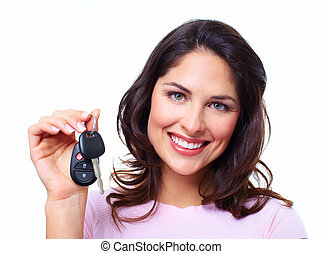 Woman with a car keys Isolated on white background